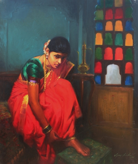 Vijay Jadhav | Oil Painting title Shrungar on Canvas | Artist Vijay Jadhav Gallery | ArtZolo.com
