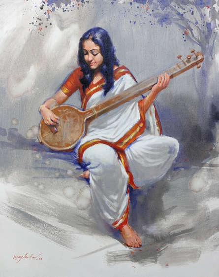 Figurative Acrylic Art Painting title 'Swarsaaj' by artist Vijay Jadhav