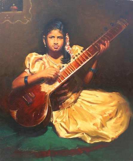 Realistic Oil Art Painting title Swarsaaj by artist Vijay Jadhav