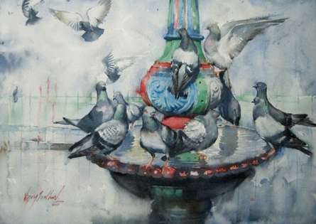 Vijay Jadhav Paintings | Animals Painting - The Bath by artist Vijay Jadhav | ArtZolo.com