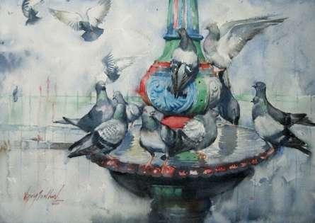 Animals Watercolor Art Painting title 'The Bath' by artist Vijay Jadhav