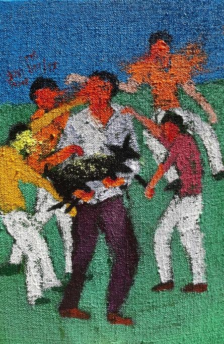 Figurative Acrylic Art Painting title 'Day 6' by artist Kumar Ranjan