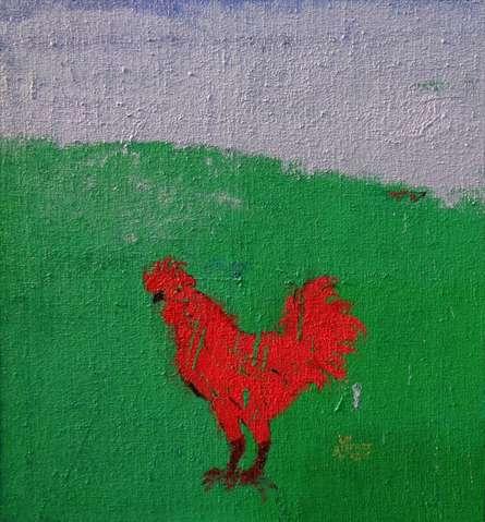 Green Field Blue Sky And A Cock | Painting by artist Kumar Ranjan | acrylic | tarpaulin