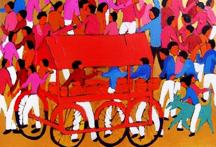 contemporary Acrylic Art Painting title 'Village 3' by artist Kumar Ranjan