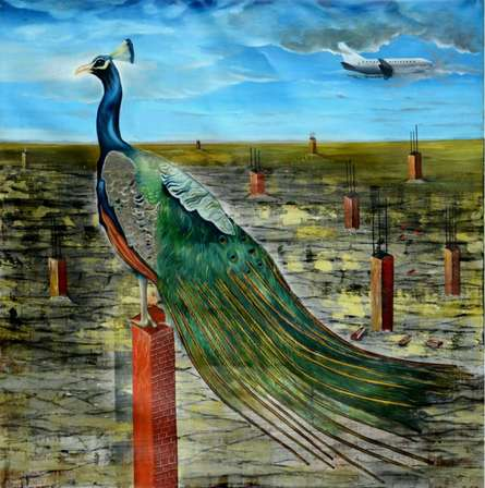 contemporary Acrylic-oil Art Painting title 'My New Home' by artist Ashish Kushwaha