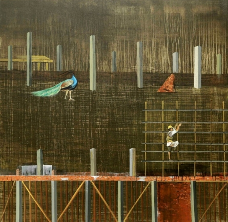contemporary Mixed-media Art Painting title Urban Metaphor 1 by artist Ashish Kushwaha