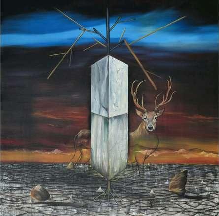 contemporary Acrylic-oil Art Painting title 'Where I Am' by artist Ashish Kushwaha