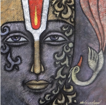 Krishna Ashok | Advaitha 1 Mixed media by artist Krishna Ashok on Canvas | ArtZolo.com