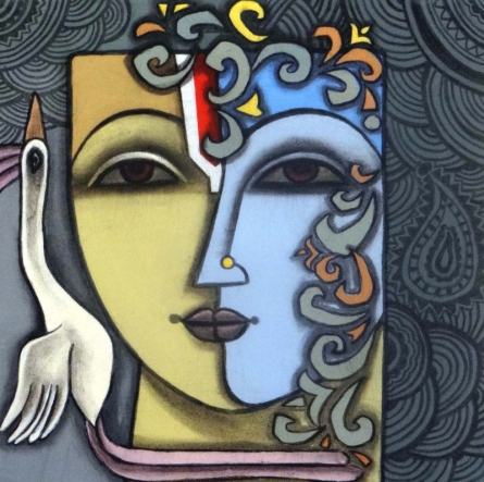 Mixed Media Painting titled 'Advaitha 10' by artist Krishna Ashok on Canvas