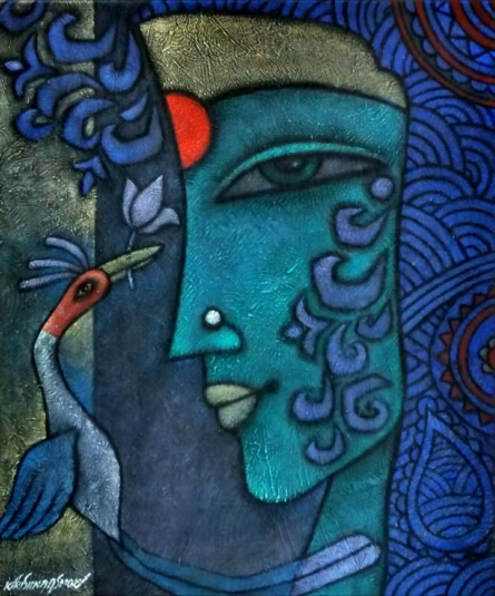 Krishna Ashok | Advaitha 12 Mixed media by artist Krishna Ashok on Canvas | ArtZolo.com