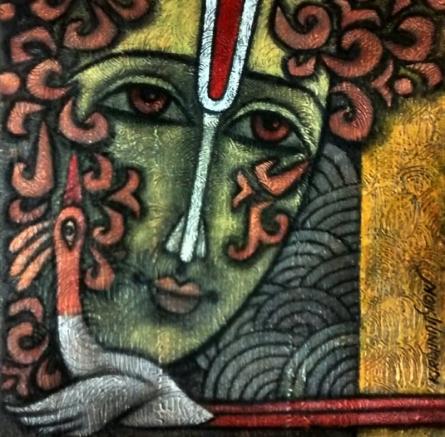 Krishna Ashok | Advaitha 13 Mixed media by artist Krishna Ashok on Canvas | ArtZolo.com