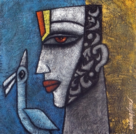 Krishna Ashok | Advaitha 2 Mixed media by artist Krishna Ashok on Canvas | ArtZolo.com