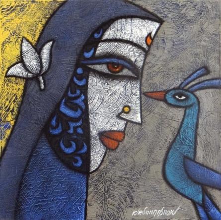 Krishna Ashok | Advaitha 3 Mixed media by artist Krishna Ashok on Canvas | ArtZolo.com