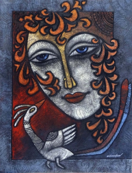 Krishna Ashok | Advaitha 5 Mixed media by artist Krishna Ashok on Canvas | ArtZolo.com