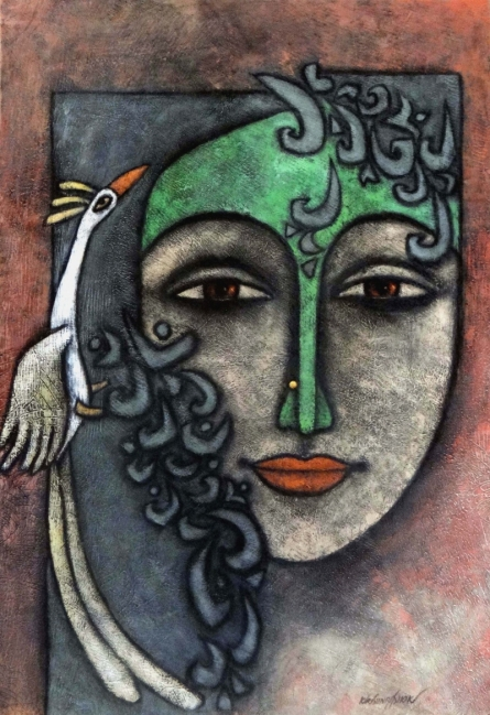 Mixed Media Painting titled 'Advaitha 6' by artist Krishna Ashok on Canvas