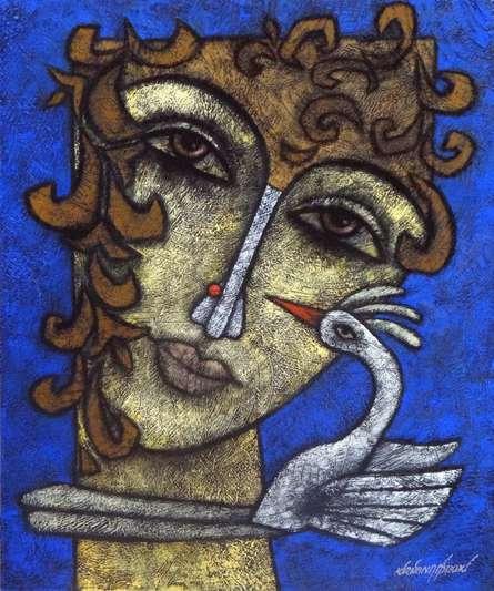 Mixed Media Painting titled 'Advaitha 7' by artist Krishna Ashok on Canvas