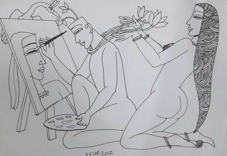 Erotic Graphite Art Drawing title 'Kamasutra 1' by artist Krishna Ashok