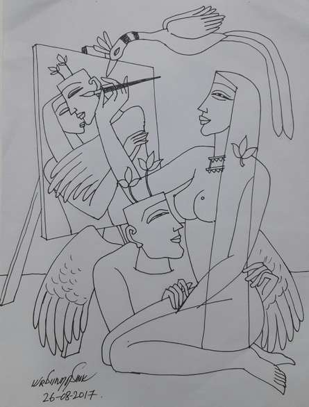 Graphite Paintings | Drawing title Kamasutra 2 on Paper | Artist Krishna Ashok