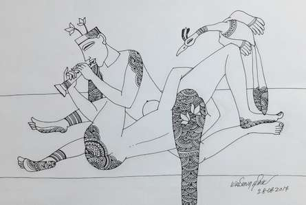 Erotic Graphite Art Drawing title 'Kamasutra 3' by artist Krishna Ashok