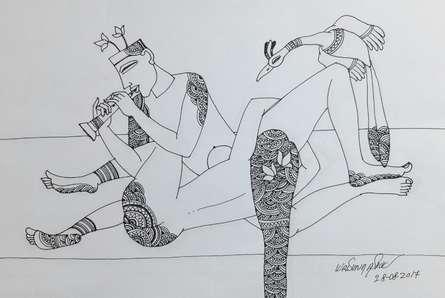 Erotic Graphite Art Drawing title Kamasutra 3 by artist Krishna Ashok