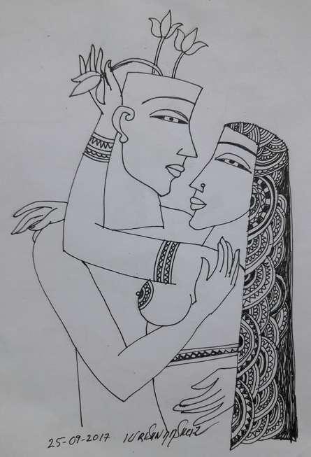 Erotic Graphite Art Drawing title 'Kamasutra 5' by artist Krishna Ashok