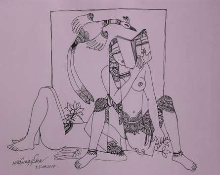Erotic Graphite Art Drawing title Kamasutra 6 by artist Krishna Ashok