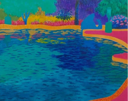 The Blue Pond | Painting by artist PROTYUSHA MITRA | acrylic | Canvas