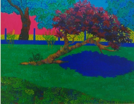 Landscape Acrylic Art Painting title 'The Blue Shadow' by artist PROTYUSHA MITRA