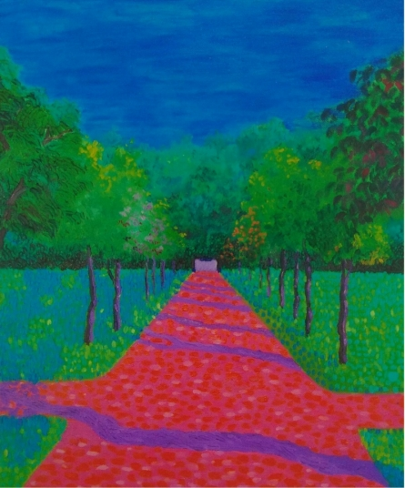 PROTYUSHA MITRA | Acrylic-oil Painting title The Pink Road on Canvas | Artist PROTYUSHA MITRA Gallery | ArtZolo.com