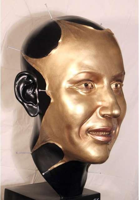 Fiberglass Sculpture titled 'Mask Mukhote' by artist Sagar Rampure