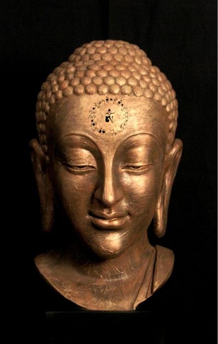 Sagar Rampure | Medicin Buddha Mantra Sculpture by artist Sagar Rampure on Fiberglass | ArtZolo.com