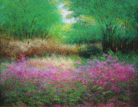 Nature Acrylic Art Painting title 'Pink Bushes' by artist VIMAL CHAND