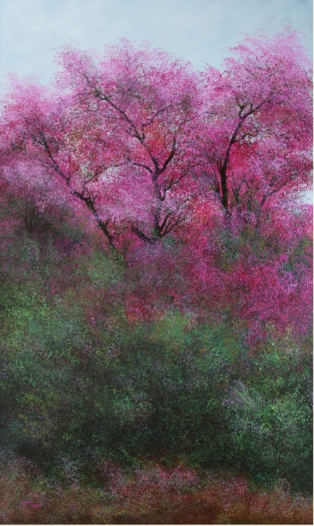 Nature Acrylic Art Painting title 'Pink Trees' by artist VIMAL CHAND