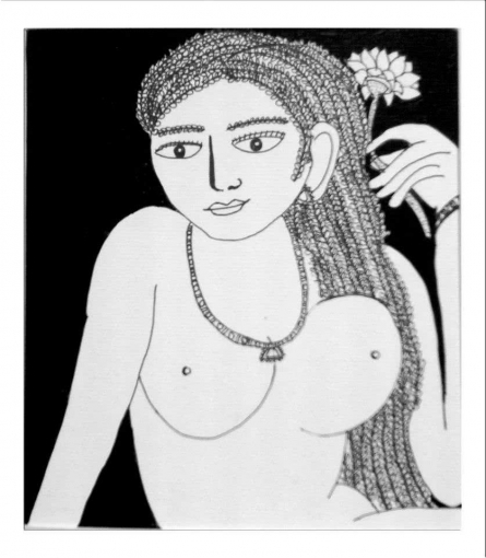 Nude Pen-ink Art Drawing title Drawing I by artist Sambuddha Gupta
