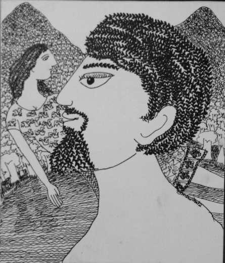 Figurative Pen-ink Art Drawing title 'Drawing Iv' by artist Sambuddha Gupta