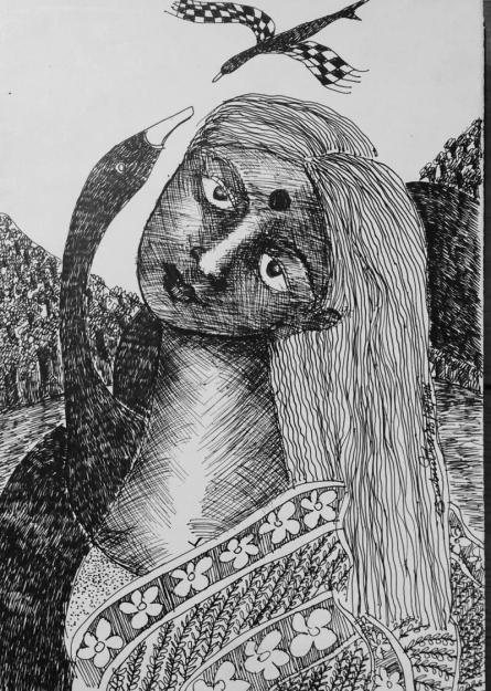 Figurative Pen-ink Art Drawing title 'Drawing V' by artist Sambuddha Gupta