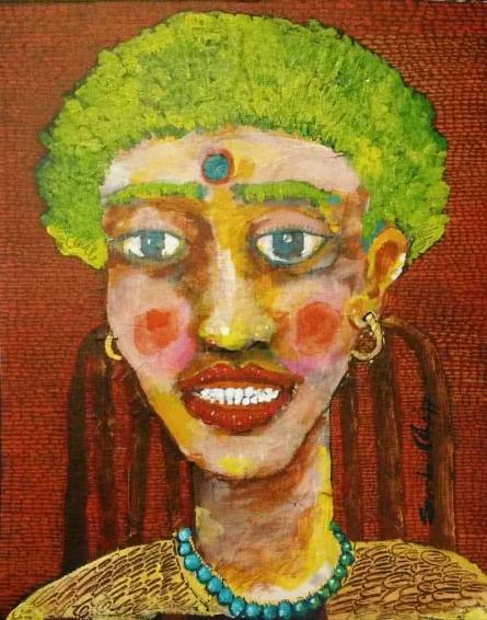 Portrait Of A Lady Iii | Painting by artist Sambuddha Gupta | acrylic | Paper