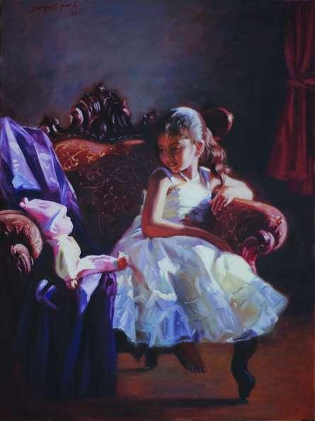 Figurative Oil Art Painting title 'Best Friend' by artist Swapnil Patil