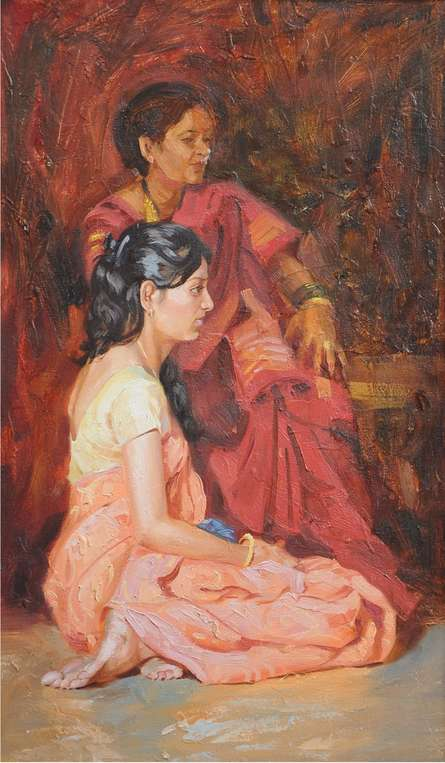 Swapnil Patil | Oil Painting title Caring Mother on Canvas | Artist Swapnil Patil Gallery | ArtZolo.com