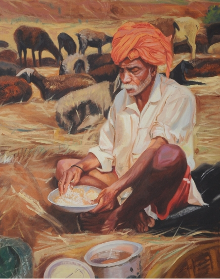 Figurative Oil Art Painting title Lunch by artist Swapnil Patil