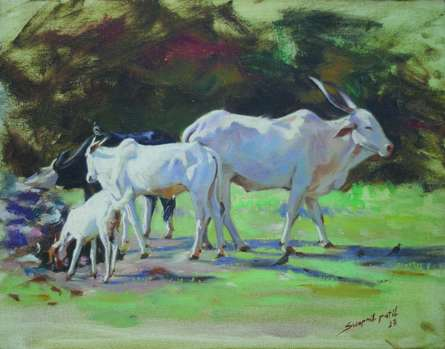 Animals Oil Art Painting title 'Relation' by artist Swapnil Patil