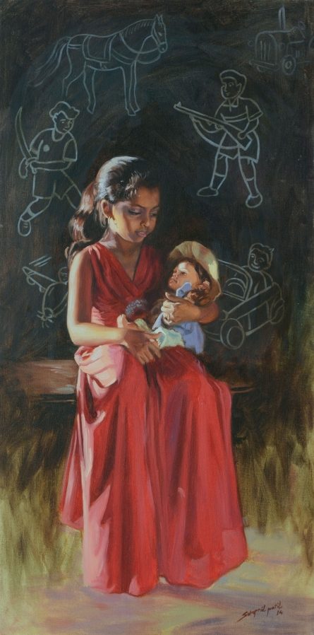 School Poem | Painting by artist Swapnil Patil | oil | Canvas