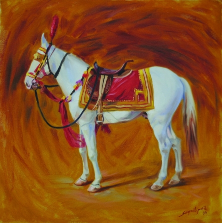 Animals Oil Art Painting title 'White Horse' by artist Swapnil Patil