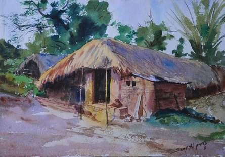 Figurative Watercolor Art Painting title 'Zopadi' by artist Swapnil Patil