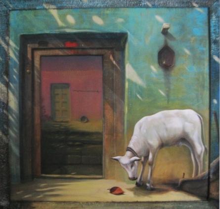 Cityscape Acrylic Art Painting title 'Aangan' by artist Gopal Pardeshi