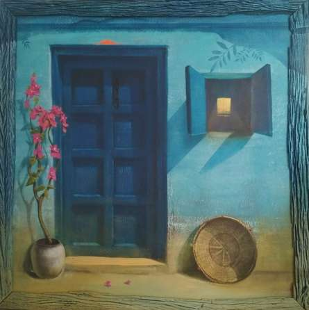 Still-life Acrylic Art Painting title 'Blue Door 2' by artist Gopal Pardeshi