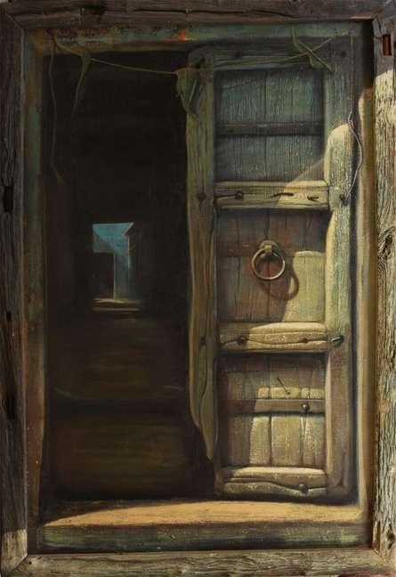 Cityscape Acrylic Art Painting title 'Open Door' by artist Gopal Pardeshi