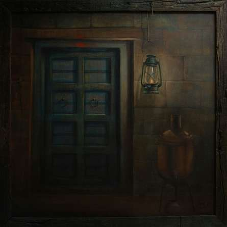 Cityscape Acrylic Art Painting title 'The Door' by artist Gopal Pardeshi