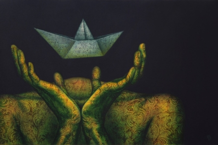 Nilesh Vede | Acrylic Painting title Life Boat on Canvas | Artist Nilesh Vede Gallery | ArtZolo.com