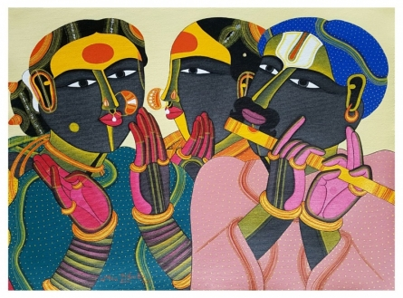 Figurative Acrylic Art Painting title 'Untitled 11' by artist Thota Vaikuntam